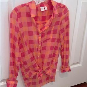 Nordstrom BP XS pink and light orange plaid top